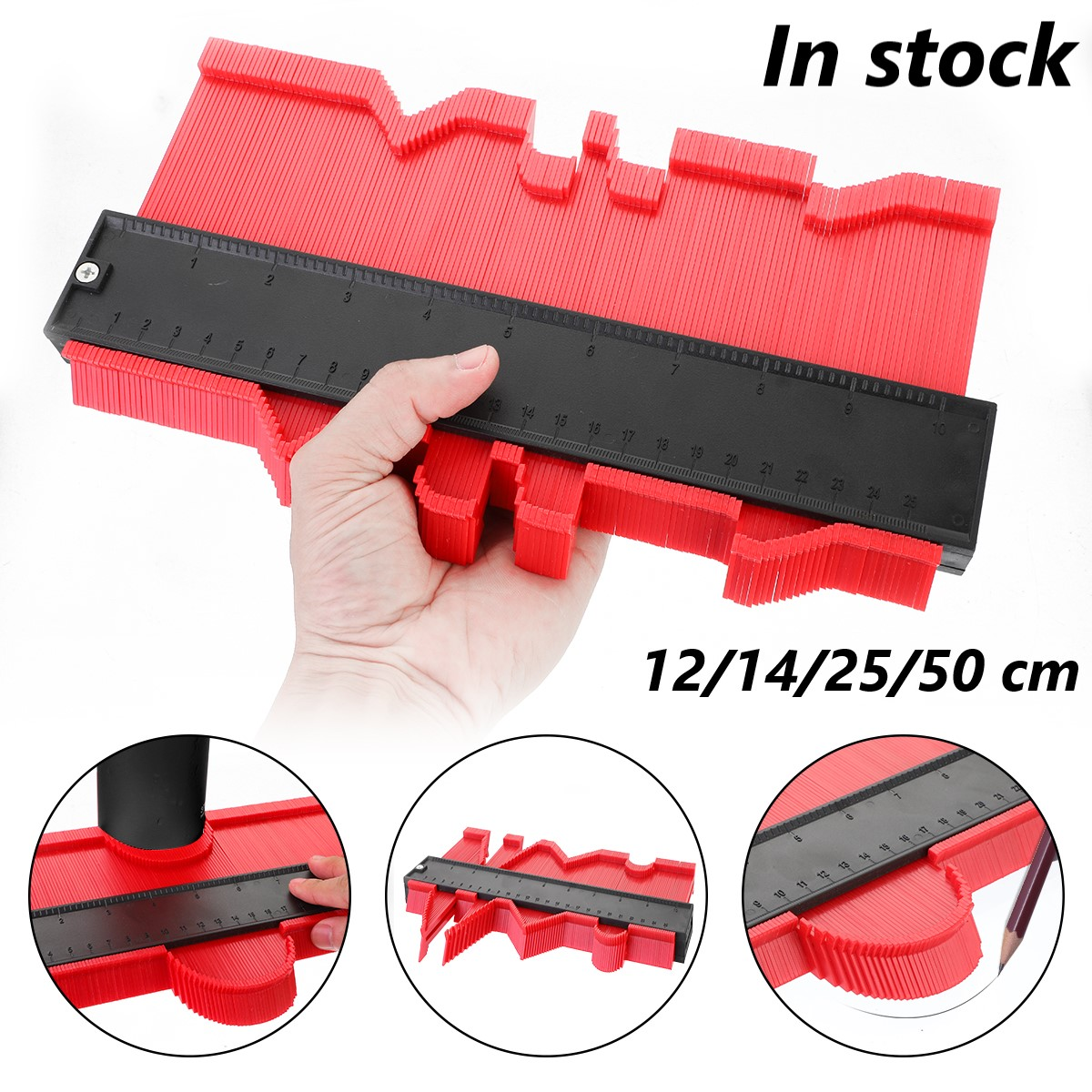 12/14/25/50 Cm Contour Gauge Plastic Profile Copy Contour Gauges Standard Wood Marking Tool Tiling Laminate Tiles Tools