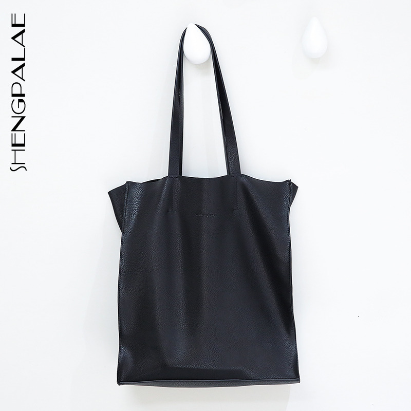 SHENGPALAE 2020 New Fashion Bag Women Solid Black High Capacity Shopping Bag Female High Street Casual Casual Tide Vintage FV942