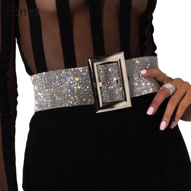 Neue marke design Strass frauen breiten Gürtel Mode Shiny Diamant Kristall Bund Weibliche Luxus Gold Silber Taille Party Gürtel