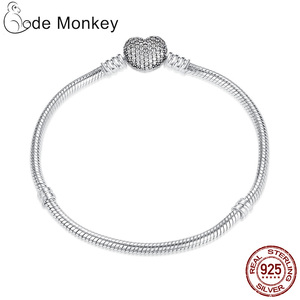Image 3 - Hot Sale 100% Real  925Silver Bracelet Fit Original Design Beads Charms Bangle DIY Jewelry Making Gift For Women