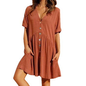 цена на Women 2020 V-neck Single-breasted Dress Simple Button Half Sleeve Casual Beach Elegant Holiday Pleated Loose Mini Dresses