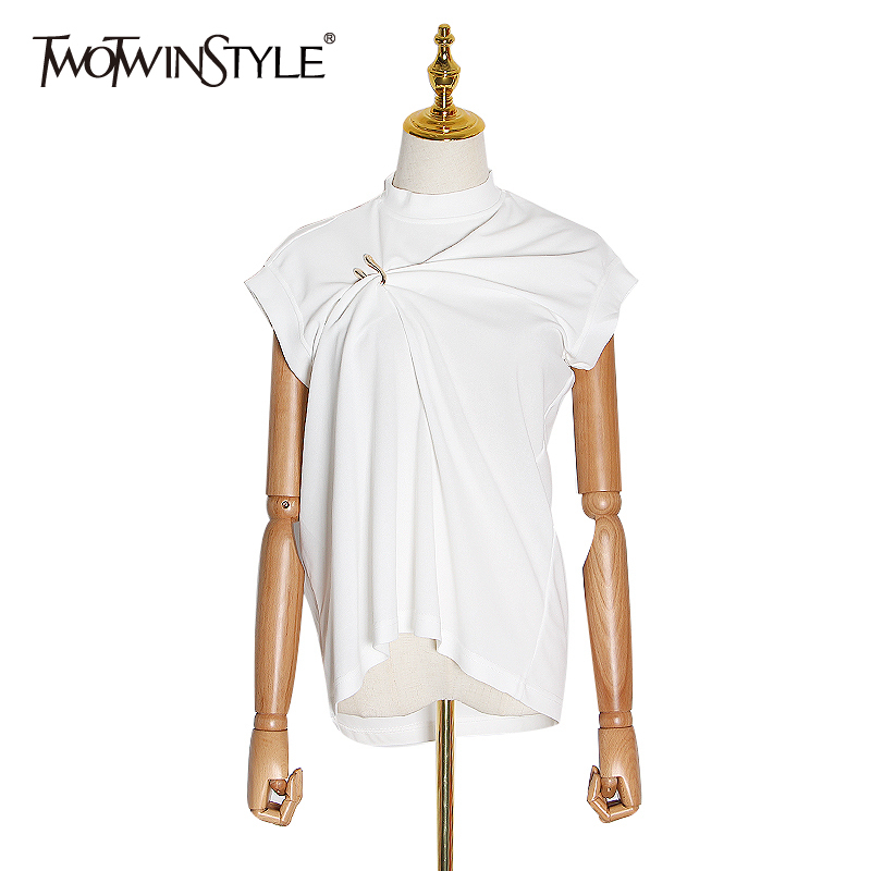 TWOTWINSTYLE Casual Irregular Women Tank Tops O Neck Sleeveless Loose U Button Asymmetrical Vest Female Clothes 2020 Fashion New