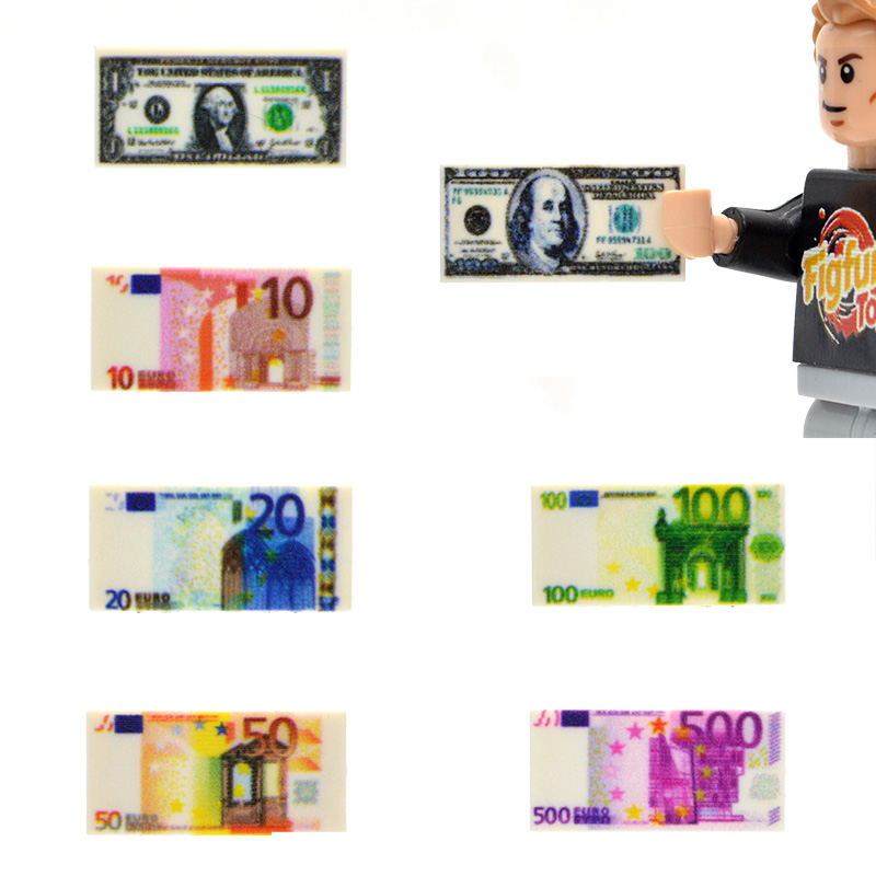 10pcs/lot 1*2 Bricks US Europe Tiles Money Paper Banknote 100 Dollars EUR 500 MOC Building Blocks Toys For Children