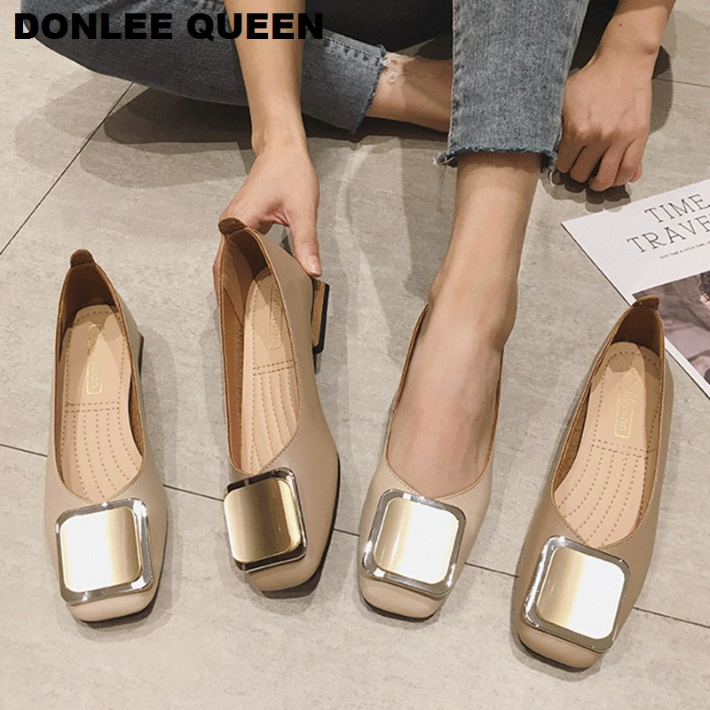 Fashion Metal Buckle Shoes Women Slip On Ballet Flats Casual Shoes Female Flat Ballerina Low Heel Soft Shoe Big Size 35-41 Mujer