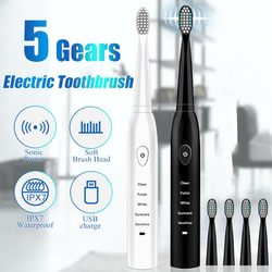 Potente cepillo eléctrico ultrasónico sónico carga USB cepillos de dientes recargables lavable electrónico blanqueador de dientes