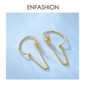 Image 4 - ENFASHION Punk C şekli zincir saplama küpe kadınlar için altın renk Minimalist bildirimi kulak manşet küpe moda takı E191091