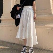 LANMREM Solid Color Elastic High Waist Stitching Ruffled Irregular Pleats Woman Skirt Simple Fashion 2020 Autumn New TV518