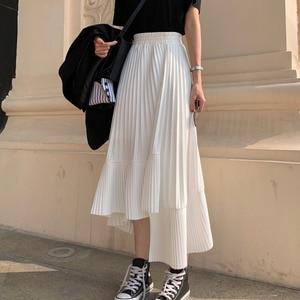 Image 1 - LANMREM jupe à volants irréguliers pour femmes, jupe élastique de couleur unie taille haute, plis irréguliers, Simple, mode, nouvelle collection automne 2020, TV518
