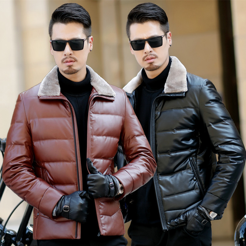 Winter New Style MEN'S Coat Sheepskin Leather Coat Men's Short Thick Leather Jacket Middle-aged Men Genuine Leather Down Jacket