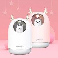 Humidificador USB purificador de aire ultrasónico máquina de niebla difusor de Aroma 300ML encantador oso LED lámpara Mini aromaterapia Humidificador|Humidificadores| |  -