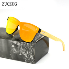 ZUCZUG Square Sunglasses Mirror-Lens Shades Wood Bamboo Handmade Colorful Design Brand