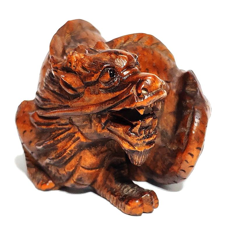 "CQ047-2/"" Hand Carved Boxwood Netsuke Figurine Carving Cobra Snake"