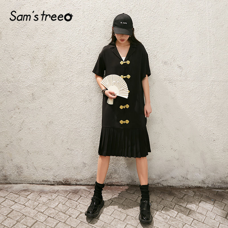 SAM'S TREE Black Solid Chinese Style Chic Button Casual Women Satin Dresses 2020 Summer New Ladies Korean Daily Pleated Dress