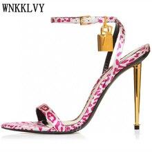 Wysokie sandały na obcasie kobiety Denim wąskie paski metalowy zamek kostki pasek Leopard Gladiator Sandalias lato Sexy Runway Party Shoes