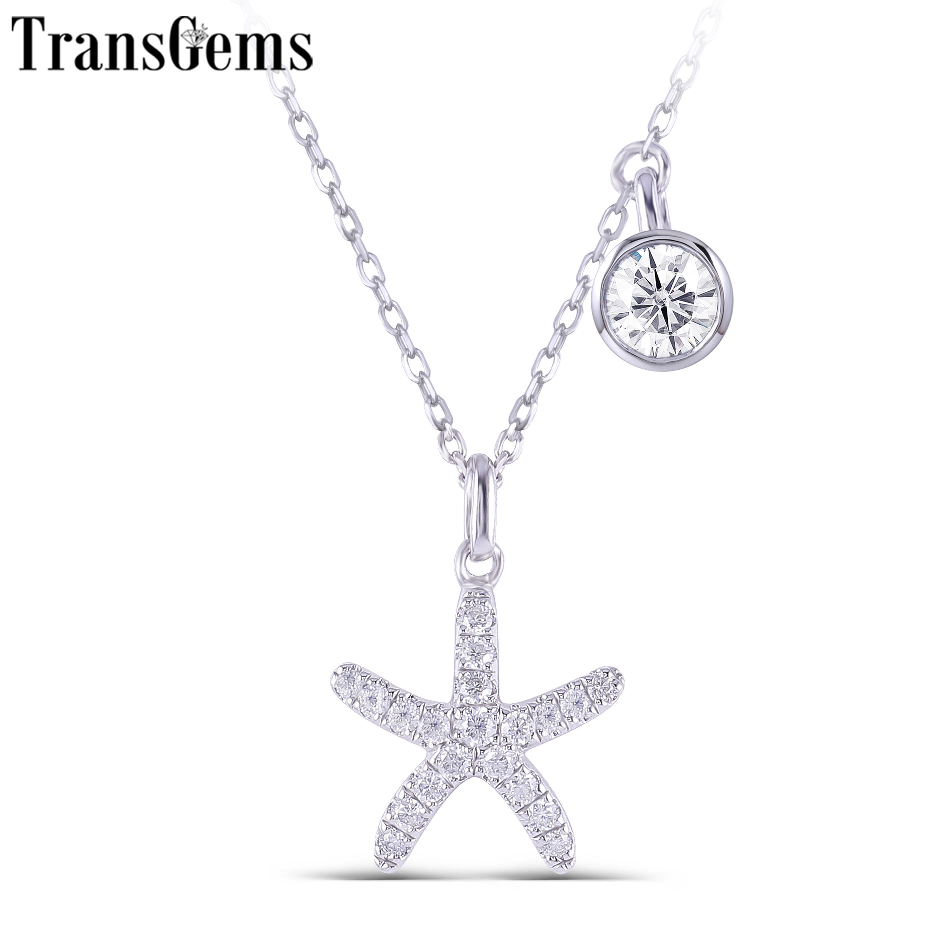 TransGems 14K 585 White Gold Center 5mm F Colorless Starfish Pendant Necklace With Accents For Women Wedding Gifts Birthday Gift
