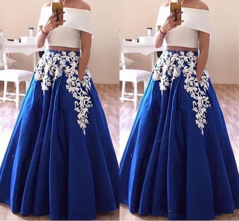 2019 Lace Appliques Two Piece Prom Dresses Boat Neck Arabic Evening Party Gown Elegant Royal Blue Robe De Soiree Prom Dress