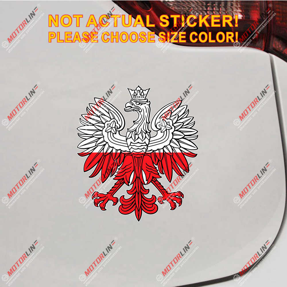 Polen Poolse Adelaar Decal Sticker Polska Polski Wit Rood Reflecterende Glossy Auto Vinyl