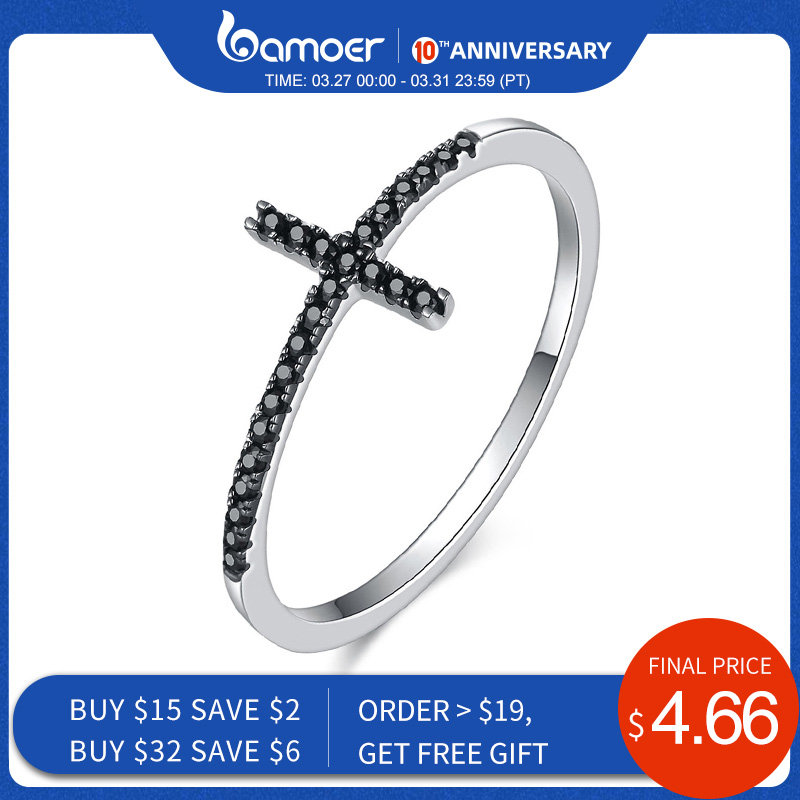 BAMOER Popular 925 Sterling Silver Faith Cross Shape Finger Rings For Women ,Black Clear CZ Sterling Silver Jewelry Gift SCR067