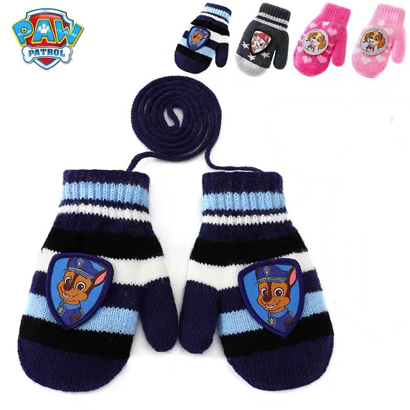 1pairs Genuine Paw Patrol Knitted Gloves Touch Screen Glove Winter Warm Full Finger Mittens Xmas Gift Children Toy Doll Hot