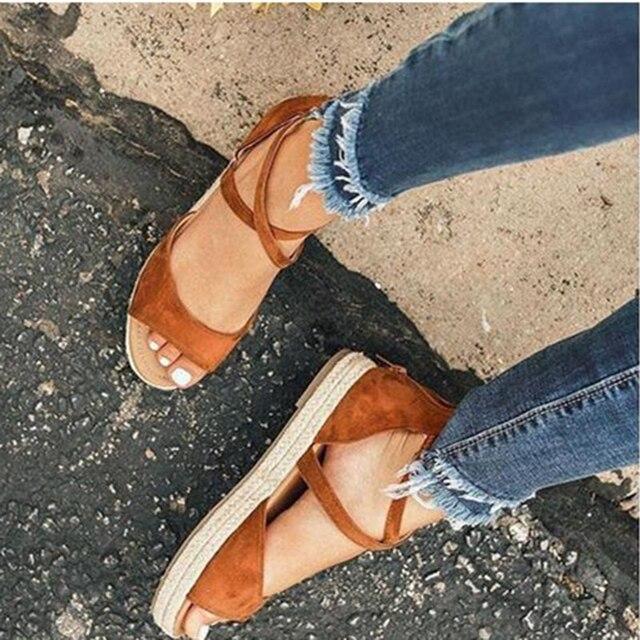 Sandalias de plataforma de mujer 2020, zapatos planos de gladiador con punta abierta y cremallera para mujer, zapatos de verano cómodos de talla grande para mujer 5