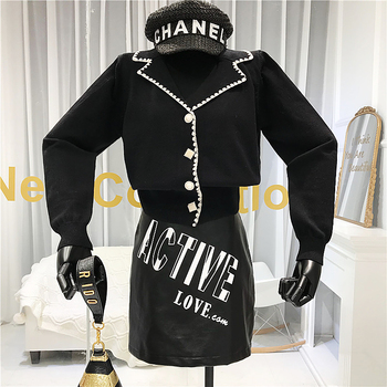 Vintage  Single Breasted Womens New Arrival Sweaters Solid Button Turn-down Collar Winter 2019 Womans