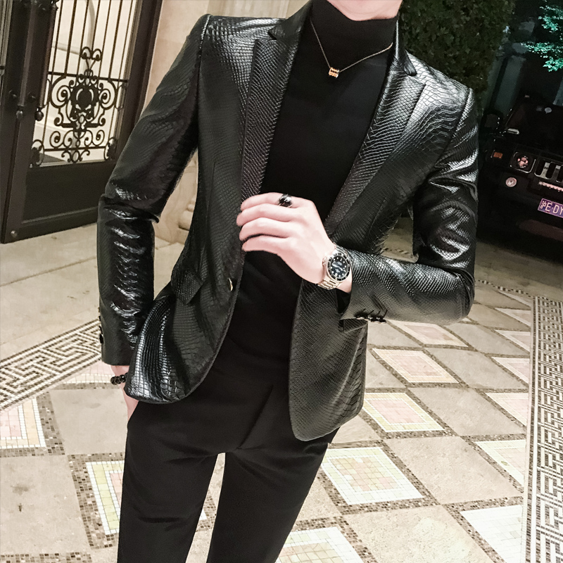 Leather Men's Suit Leather Suit Men's Jacket Autumn And Winter New Society