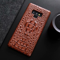 CKHB Real Genuine Leather Case for galaxy note 9 8 Phone Luxury 3D Crocodile Pattern Retro Vintage Hard Slim Cover Cases