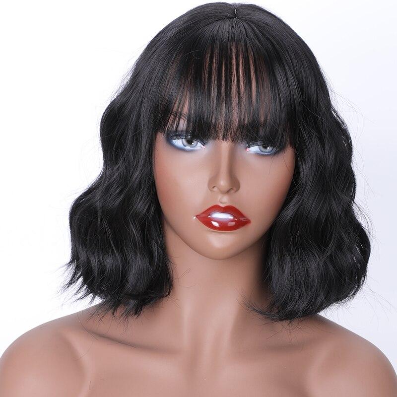 MERISI HAIR Synthetic Hair Black Blonde Short Water Wavy Wigs For Black Women Popular Wigs With Bangs HeatHeat Resistan