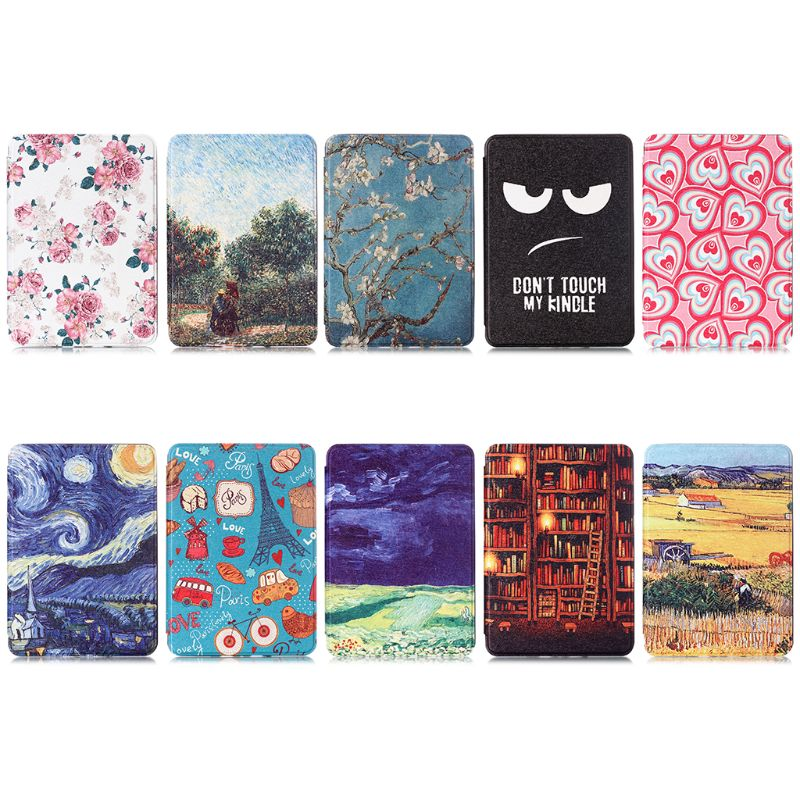 Auto Wake/Sleep TPU Soft Case For Amazon Kindle Paperwhite 4 Smart Cover Painting EBook Case