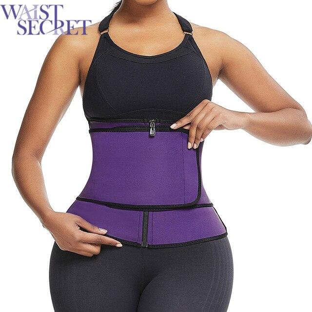 WAIST SECRET Neoprene Sweat Waist Trainer Corset Body Shaper Abdominal Belt High Compression Zipper Neoprene Waist Cincher