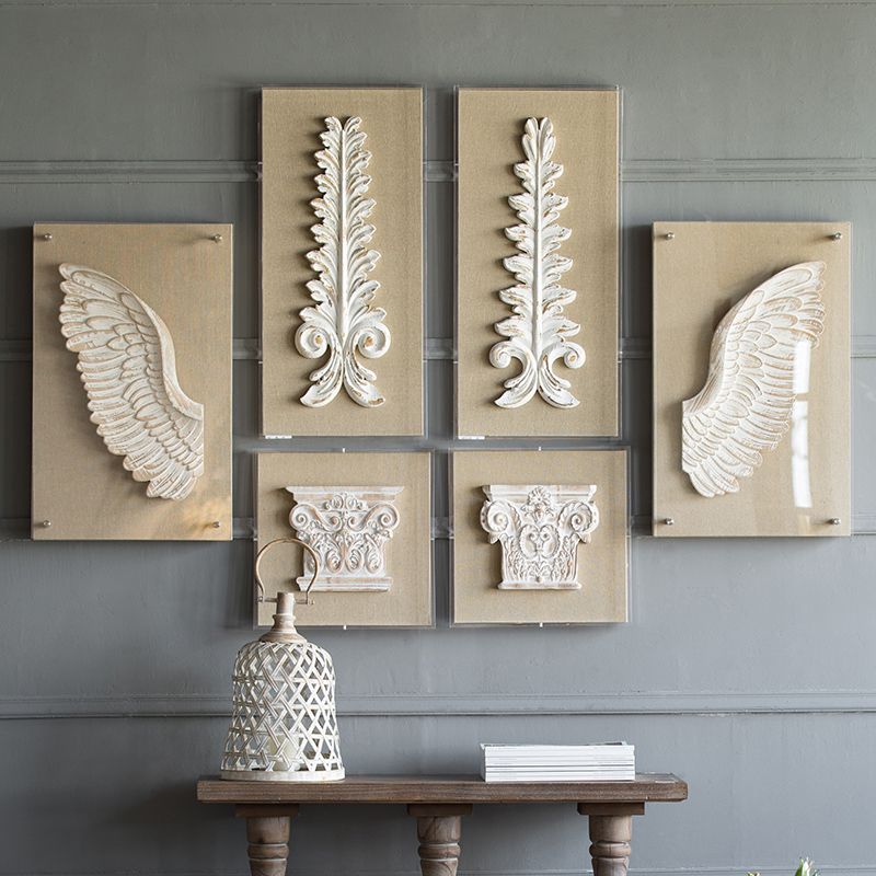 Home Decoration Accessories Embossed Roman Column Wing Wood Wall Hanging For Living Room Background Wall Acrylic Decor Ornaments
