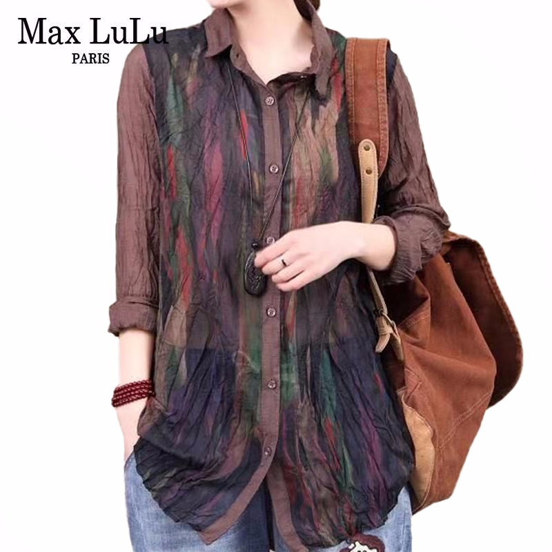 Max LuLu 2020 New Spring Chinese Style Ladies Vintage Tops Womens Loose Causal Shirts Female Linen Streetwear Blouses Plus Size