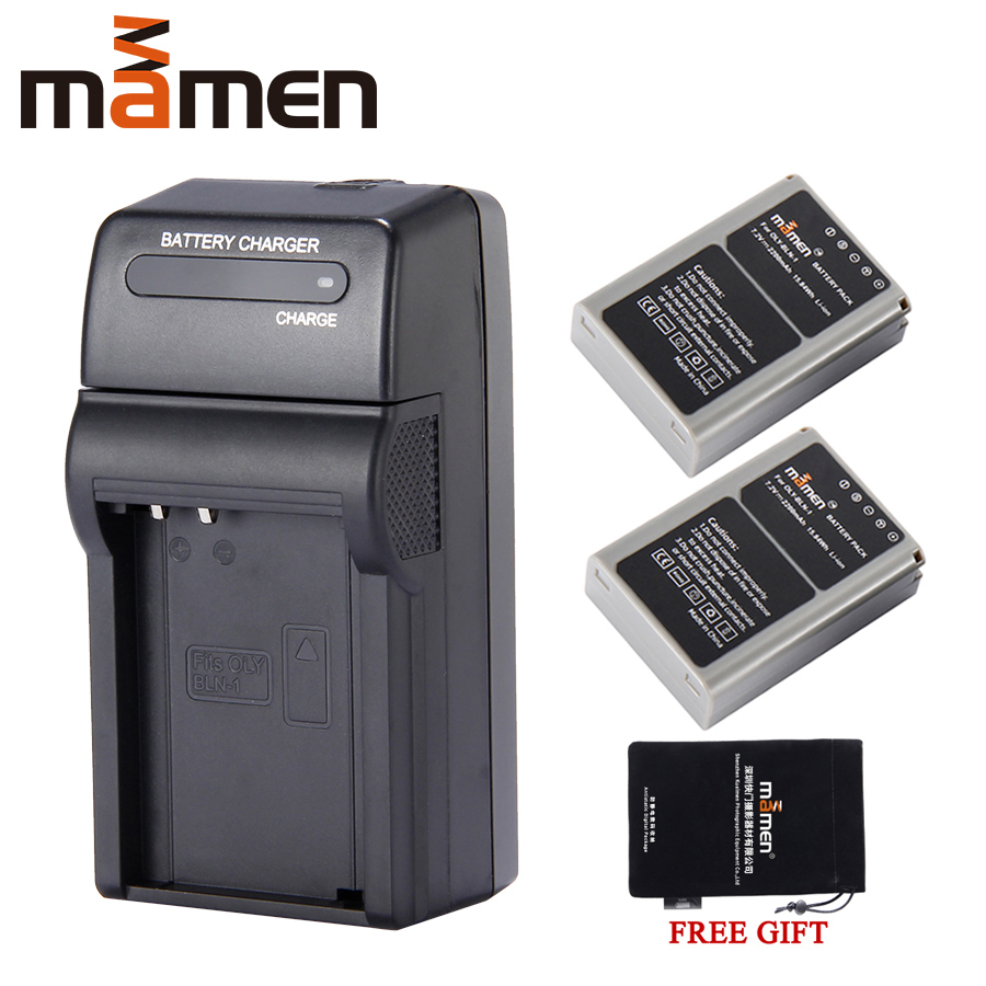 Mamen 2200mAh Rechargeable BLN-1 BLN1 PS-BLN1 Digital Camera Battery + Single Charger For OLYMPUS E-M5 EM5 OM-D Camera Batteries image