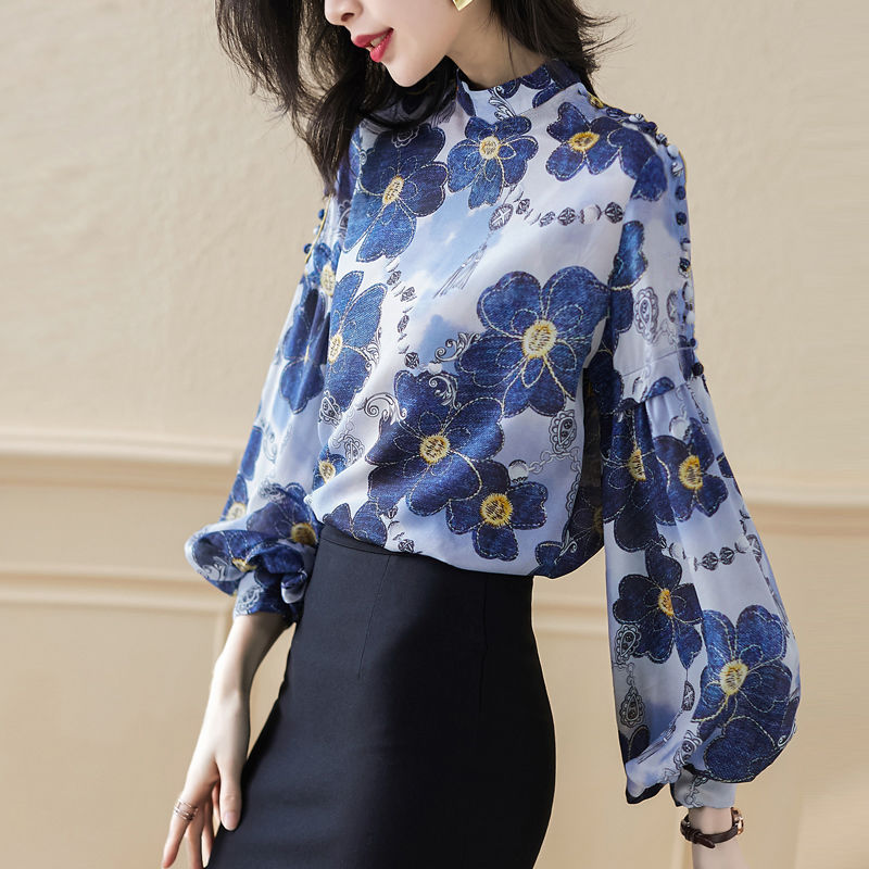 Long Sleeve Fashion Stand Collar Printed Shirt Female Lantern Sleeve Applique Blue Loose Blouses Pullover Women Spring Autumn Blouses & Shirts  - AliExpress