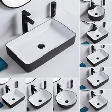 Platform Basin Sink Bathroom-Sinks Hand-Washing Ceramic Oval Square Balcony Simple