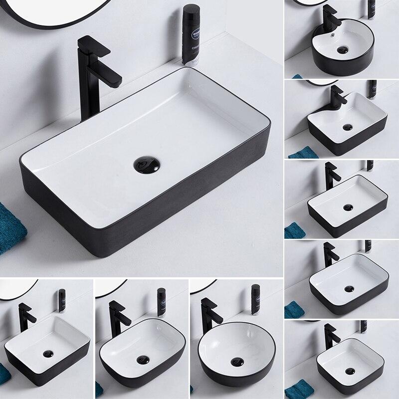 Simples plataforma bacia oval quadrado cerâmica mão pia de lavar arte bacia lavatório lavatório lavatório varanda pias do banheiro