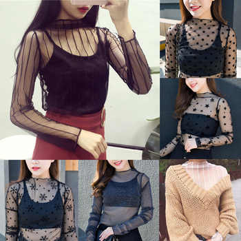 Women's Sexy Mesh Sheer Lace T-Shirts Perspective Long Sleeve Stand Collar Mesh Tops Striped Polka D
