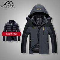 Männer Mäntel 2021 Winter Neue Daunen Jacke Männer Mode 2 in 1 Outwear Verdicken Warme Daunen Parka Patchwork Wasserdicht haube Männer Mäntel