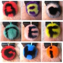 15cm Real Fox Fur Pompom Keychain Charm Letter Fluffy Fur Ball Keychains For Women Handbag Pendant