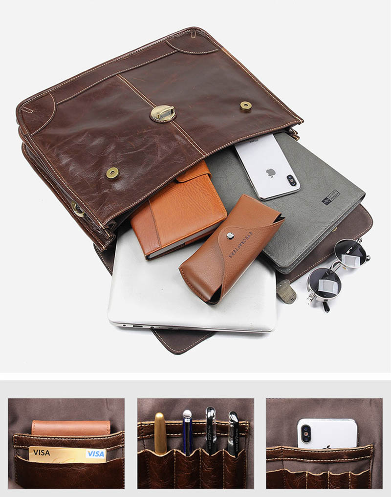 """H1a85d4c12faa433b875bfcd39e463480G Men's genuine leather briefcase 16"""" Big real leather laptop tote bag Cow leather business bag double layer messenger bag"""