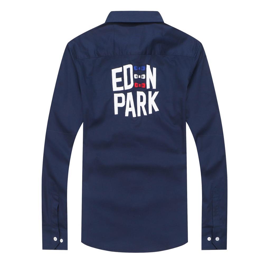 Quente frança marca eden park camisa de negócios para homens de alta qualidade camisa algodão bordado masculino vestido casual camisas sociais m a 3xl