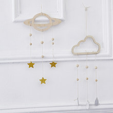 Nordic Wooden Planet Star Cloud Raindrop Hanging Ornaments For Baby Kids Room Wall Decor Nursery Decoration Photography Props(China)