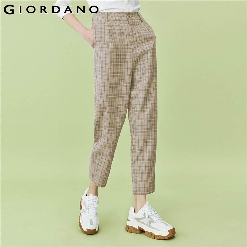 Giordano calças femininas slant bolsos xadrez meados da cintura calças tornozelo comprimento reto solto encaixe casual pantalones mujer 90420254