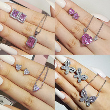2pcs Pack 2021 New Luxury Butterfly 925 Sterling Silver Dubai Wedding For Women Lady Anniversary Gift Jewelry Bulk Sell J5965