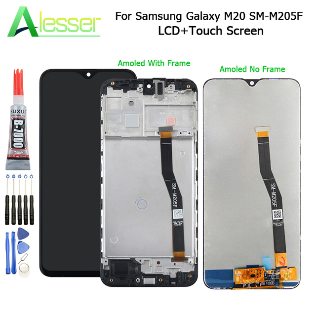 Alesser For Amoled Samsung Galaxy M20 LCD Display And Touch Screen Assembly For Samsung Galaxy M20 SM M205F With Tools+ Glue