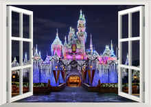 Disney Castle wall stickers Princess 3D View Window Decal for kids room girl bedroom accessories Decals