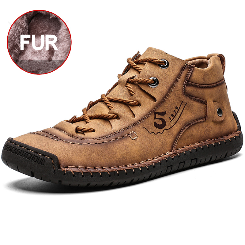New Comfortable <font><b>Men's</b></font> Leather <font><b>Shoes</b></font> hand-stitched high quality <font><b>Men's</b></font> <font><b>Shoes</b></font> Fashion Outdoor <font><b>Shoes</b></font> <font><b>Men</b></font> Big Size 39-48 image