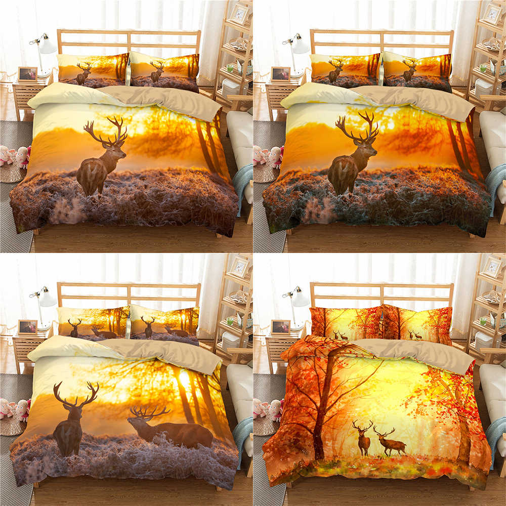 Boniu 3d Deer Pattern Bedclothes Bedding Set With Pillowcase Duvet Cover Animal Printing Bedspreads For Luxury Home Textiles