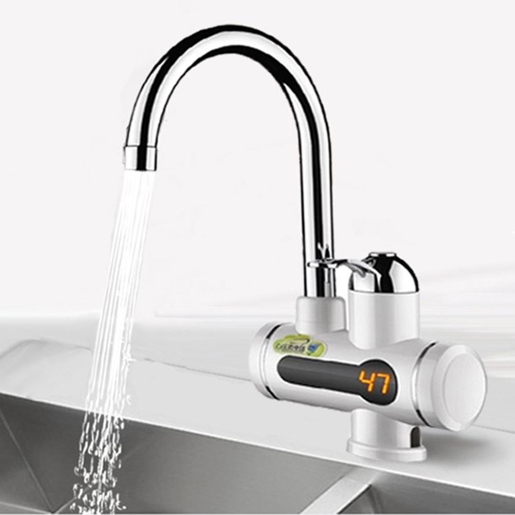 360° Rotation Water Heater Tap Bathroom Kitchen Faucet Temperature Display Digital Tankless Instant Hot/Cold Water Heater Faucet