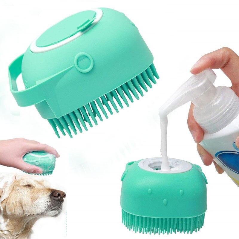 Cão de estimação gato grooming escova de banho escova de massagem com sabão e shampoo macio luva de silicone cães gatos pata limpa ferramentas de banho